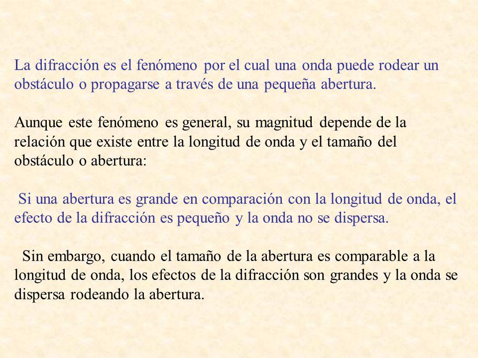 La difracción es el fenómeno por el cual una onda puede rodear un obstáculo o propagarse a través de una pequeña abertura.
