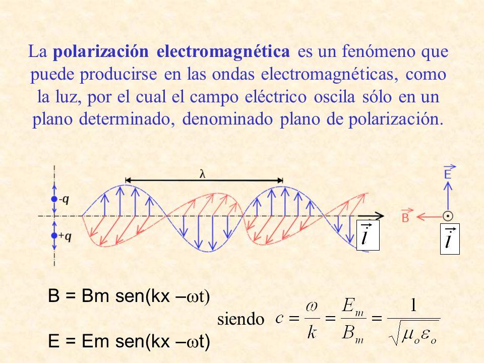 La polarización electromagnética es un fenómeno que puede producirse en las ondas electromagnéticas, como la luz, por el cual el campo eléctrico oscila sólo en un plano determinado, denominado plano de polarización.