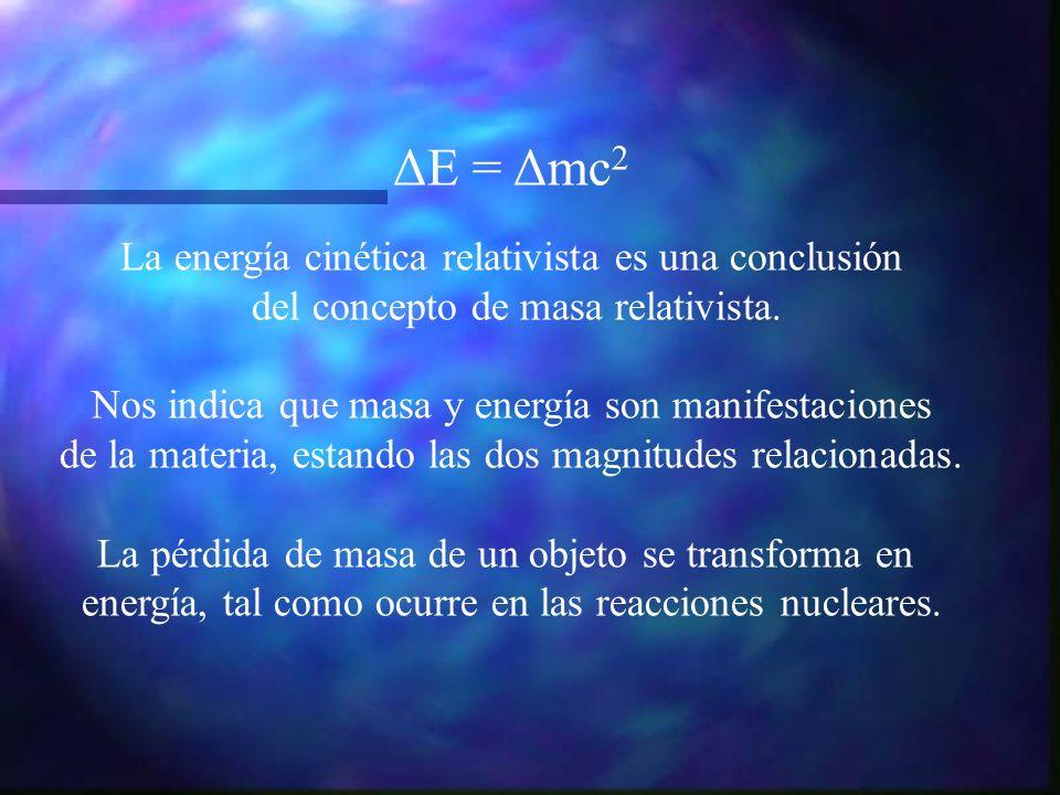 ΔE = Δmc2 La energía cinética relativista es una conclusión