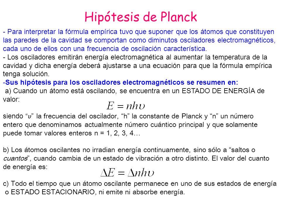 Hipótesis de Planck- Para interpretar la fórmula empírica tuvo que suponer que los átomos que constituyen.