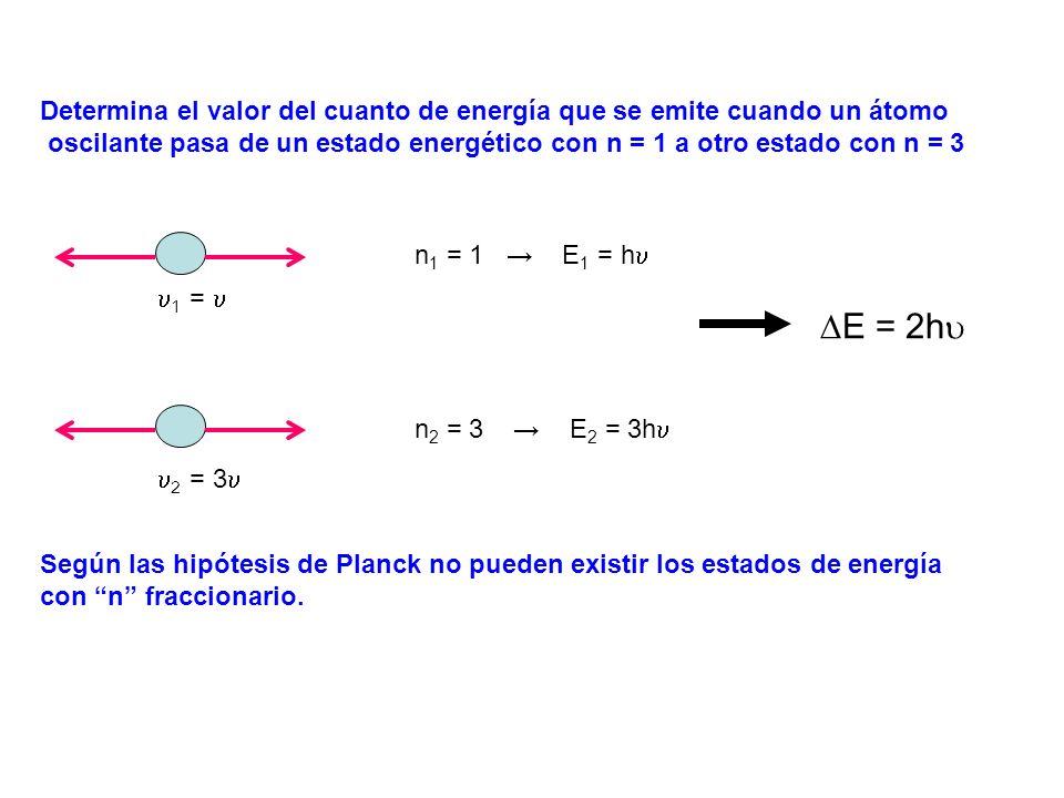 Determina el valor del cuanto de energía que se emite cuando un átomo