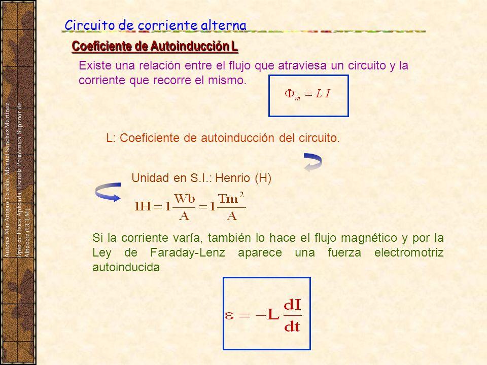 Circuito de corriente alterna Coeficiente de Autoinducción L