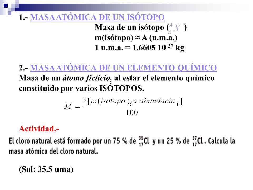1.- MASA ATÓMICA DE UN ISÓTOPO
