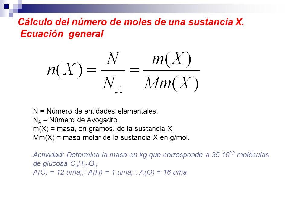 Cálculo del número de moles de una sustancia X. Ecuación general