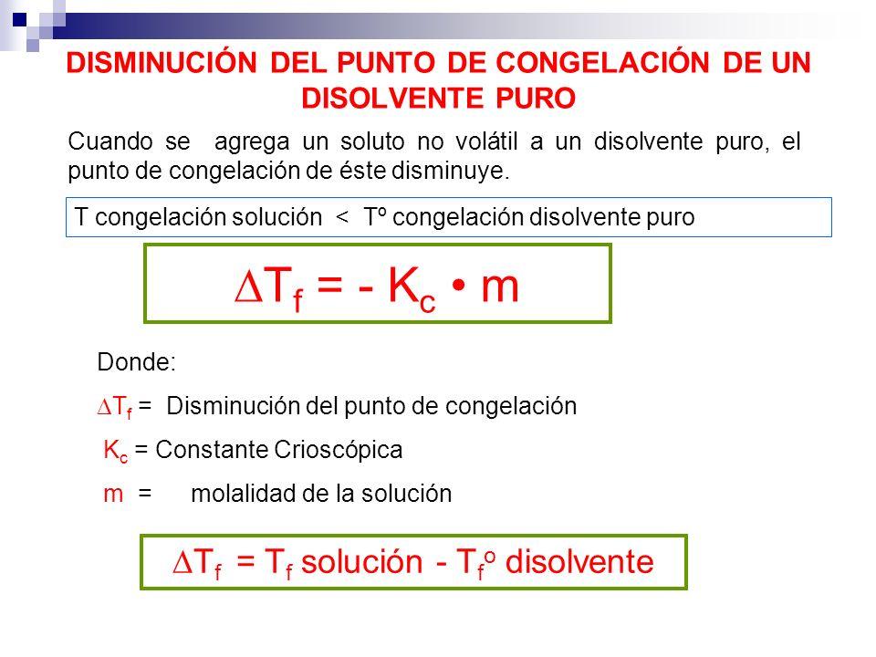 DISMINUCIÓN DEL PUNTO DE CONGELACIÓN DE UN DISOLVENTE PURO