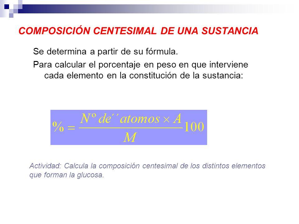 COMPOSICIÓN CENTESIMAL DE UNA SUSTANCIA