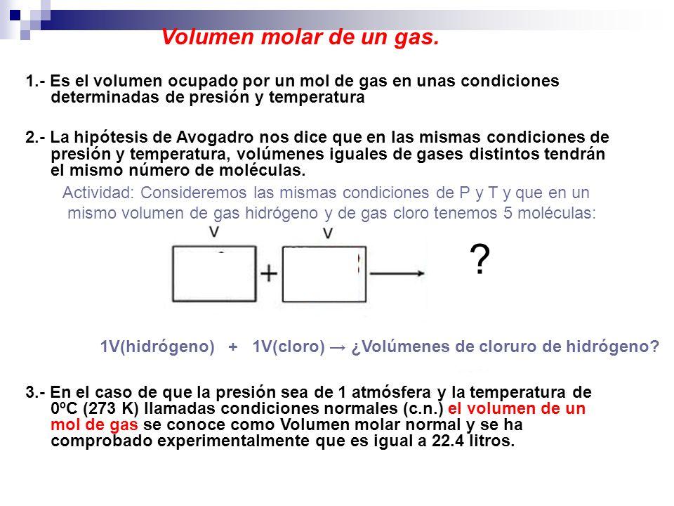 Volumen molar de un gas. 1.- Es el volumen ocupado por un mol de gas en unas condiciones determinadas de presión y temperatura.