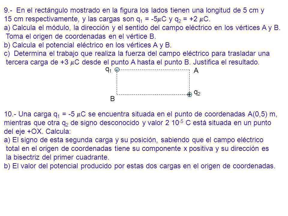 9.- En el rectángulo mostrado en la figura los lados tienen una longitud de 5 cm y