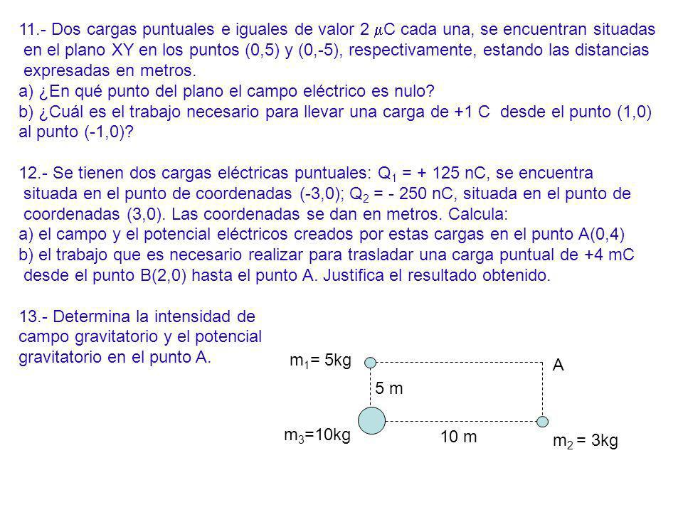 11.- Dos cargas puntuales e iguales de valor 2 mC cada una, se encuentran situadas