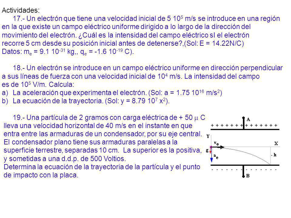 Actividades: 17.- Un electrón que tiene una velocidad inicial de 5 105 m/s se introduce en una región