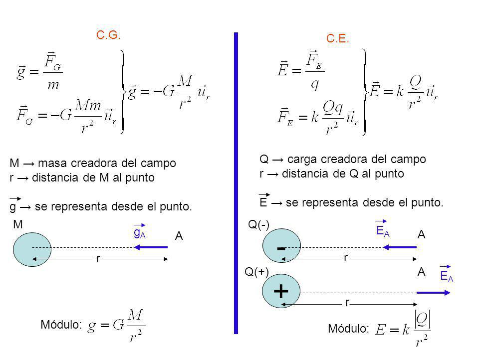 - + C.G. C.E. Q → carga creadora del campo r → distancia de Q al punto