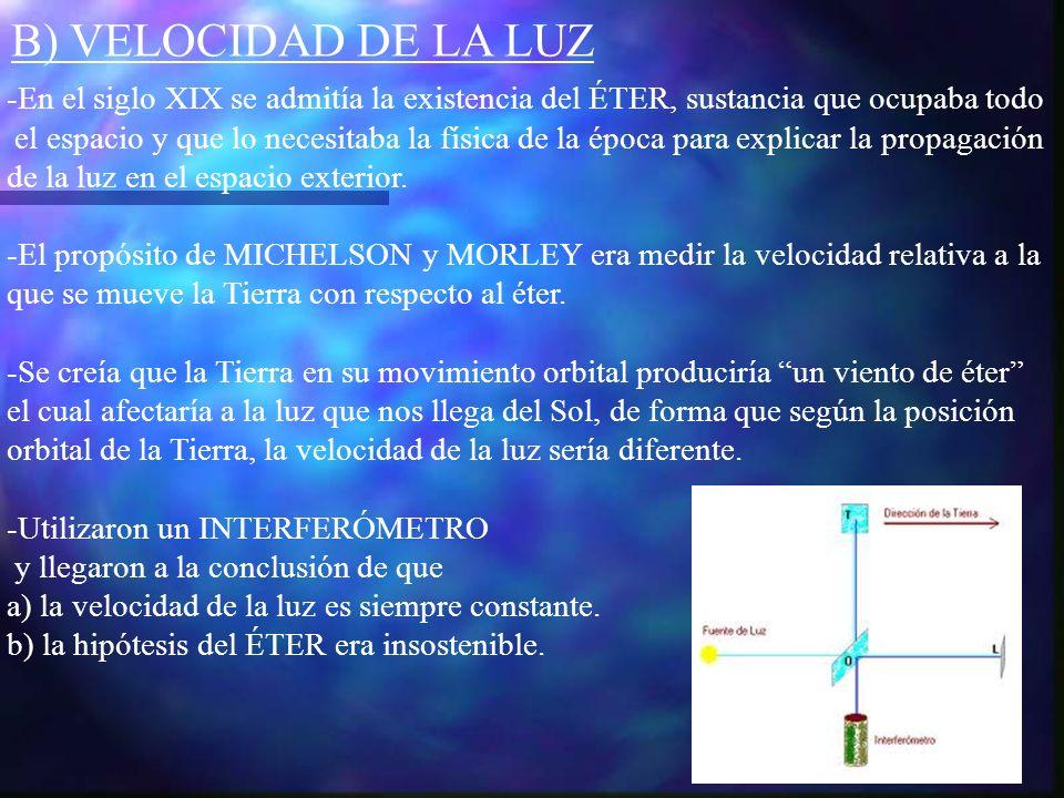 B) VELOCIDAD DE LA LUZ-En el siglo XIX se admitía la existencia del ÉTER, sustancia que ocupaba todo.