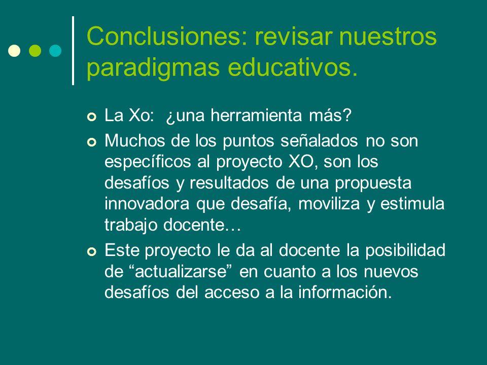 Conclusiones: revisar nuestros paradigmas educativos.