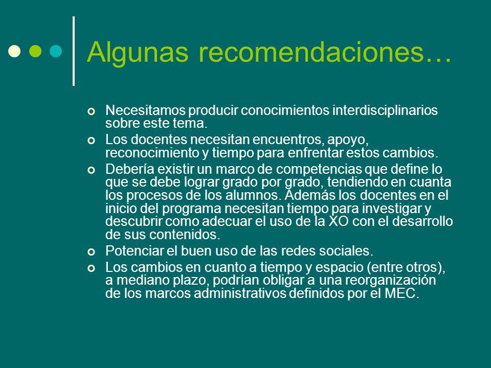 Algunas recomendaciones…