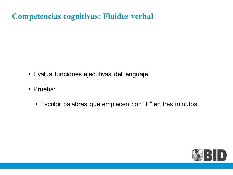 Competencias cognitivas: Fluidez verbal