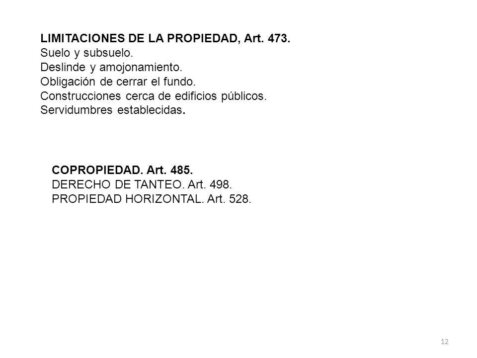 LIMITACIONES DE LA PROPIEDAD, Art. 473.