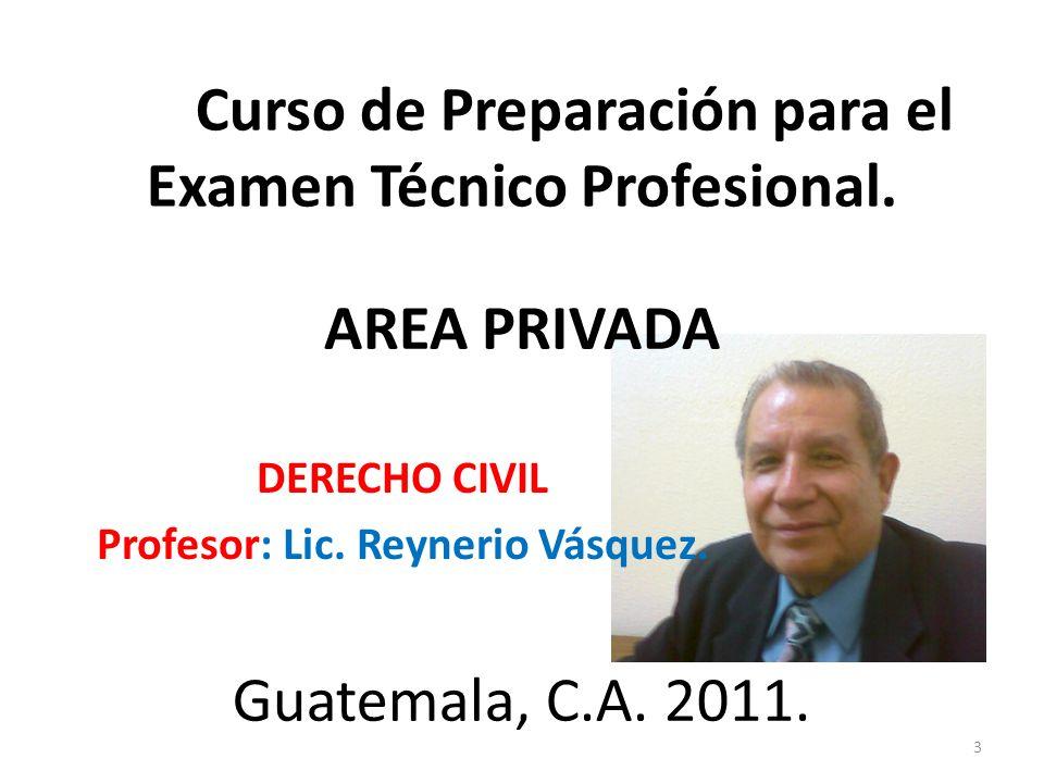 DERECHO CIVIL Profesor: Lic. Reynerio Vásquez.