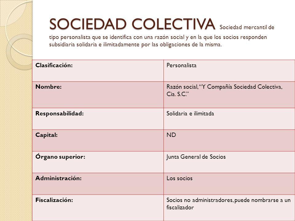 SOCIEDAD COLECTIVA Sociedad mercantil de tipo personalista que se identifica con una razón social y en la que los socios responden subsidiaria solidaria e ilimitadamente por las obligaciones de la misma.