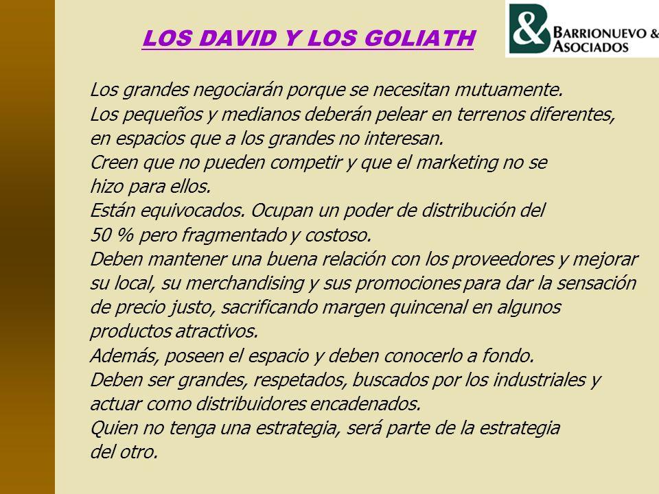 LOS DAVID Y LOS GOLIATH Los grandes negociarán porque se necesitan mutuamente. Los pequeños y medianos deberán pelear en terrenos diferentes,