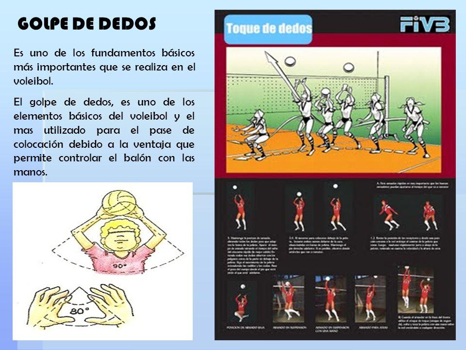 GOLPE DE DEDOS Es uno de los fundamentos básicos más importantes que se realiza en el voleibol.