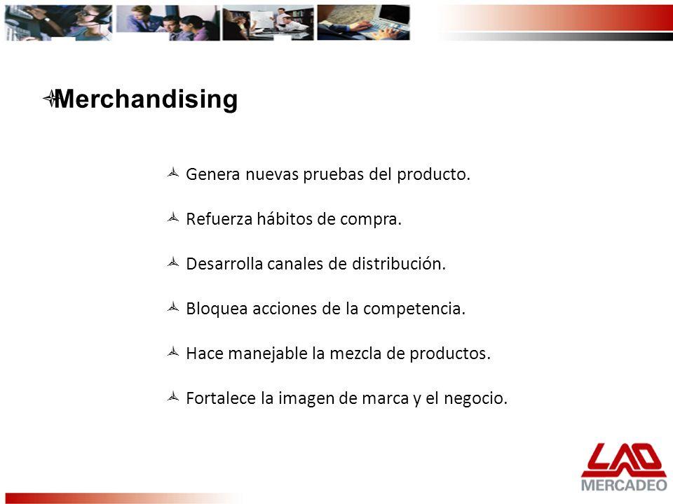 Merchandising Genera nuevas pruebas del producto.