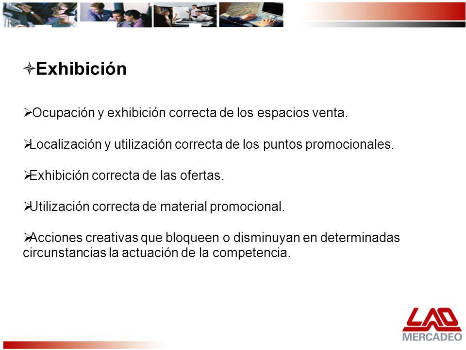Exhibición Ocupación y exhibición correcta de los espacios venta.