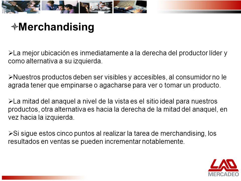 Merchandising La mejor ubicación es inmediatamente a la derecha del productor líder y como alternativa a su izquierda.