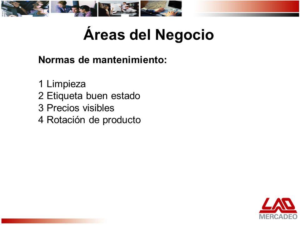 Áreas del Negocio Normas de mantenimiento: 1 Limpieza