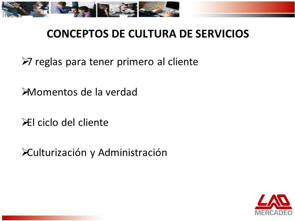 CONCEPTOS DE CULTURA DE SERVICIOS