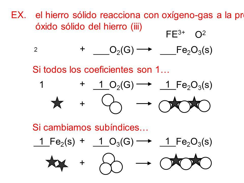 EX. el hierro sólido reacciona con oxígeno-gas a la producción