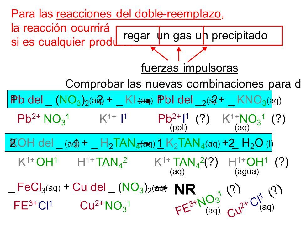 NR Para las reacciones del doble-reemplazo, la reacción ocurrirá
