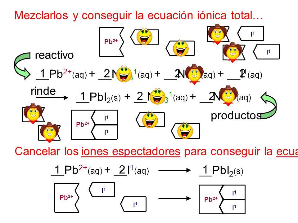 Mezclarlos y conseguir la ecuación iónica total…
