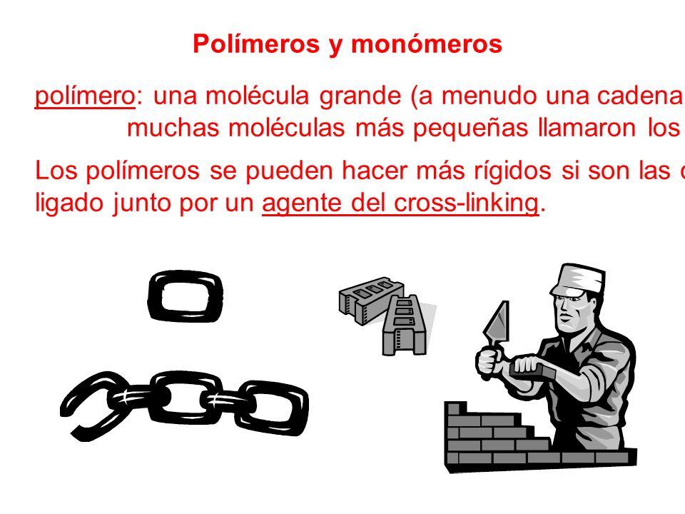 polímero: una molécula grande (a menudo una cadena) hecha de