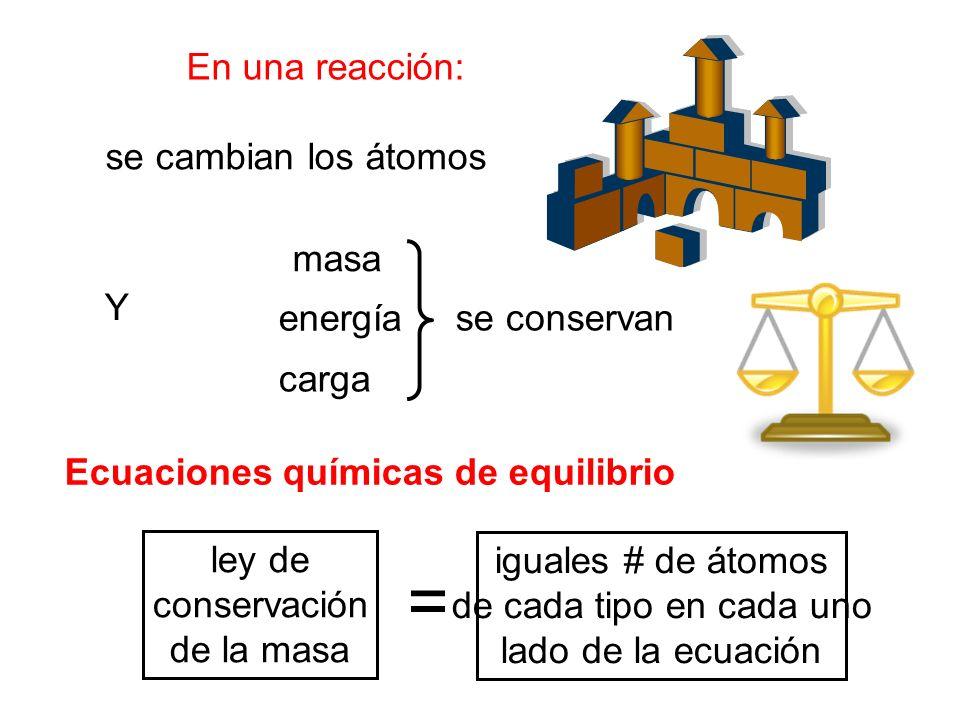 = En una reacción: se cambian los átomos masa Y energía se conservan