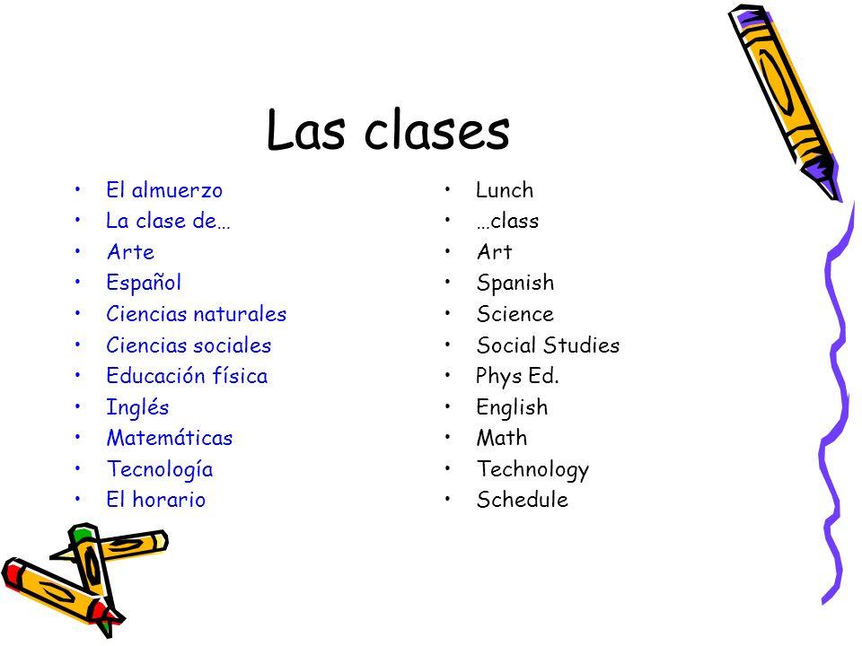 Las clases El almuerzo La clase de… Arte Español Ciencias naturales