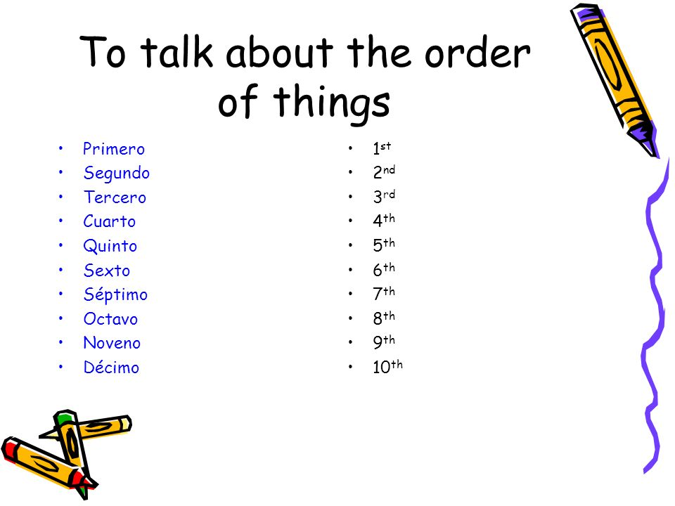 To talk about the order of things