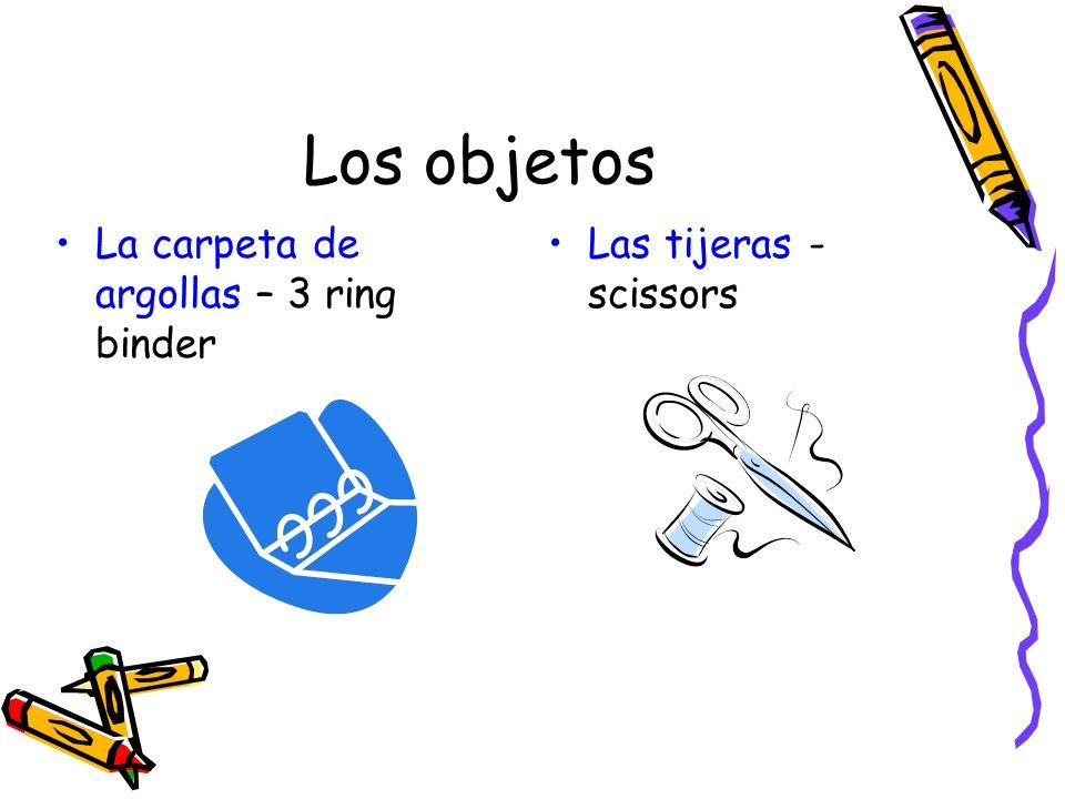 Los objetos La carpeta de argollas – 3 ring binder