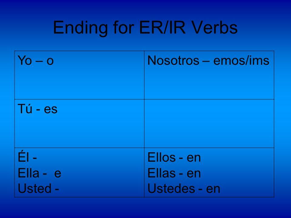 Ending for ER/IR Verbs Yo – o Nosotros – emos/ims Tú - es Él -