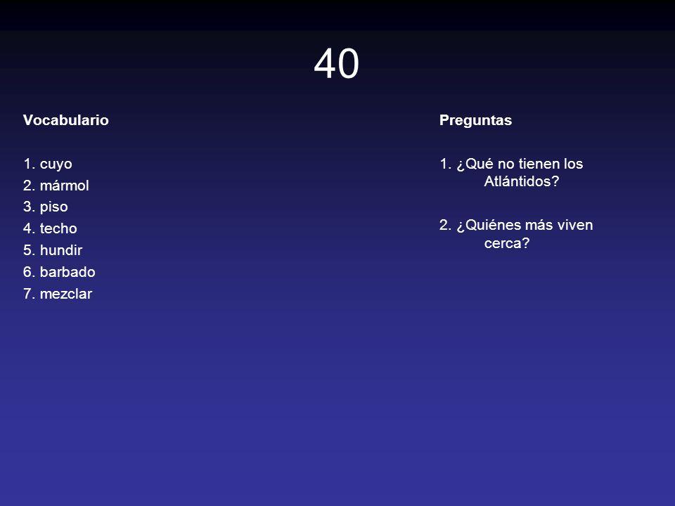 40 Vocabulario 1. cuyo 2. mármol 3. piso 4. techo 5. hundir 6. barbado