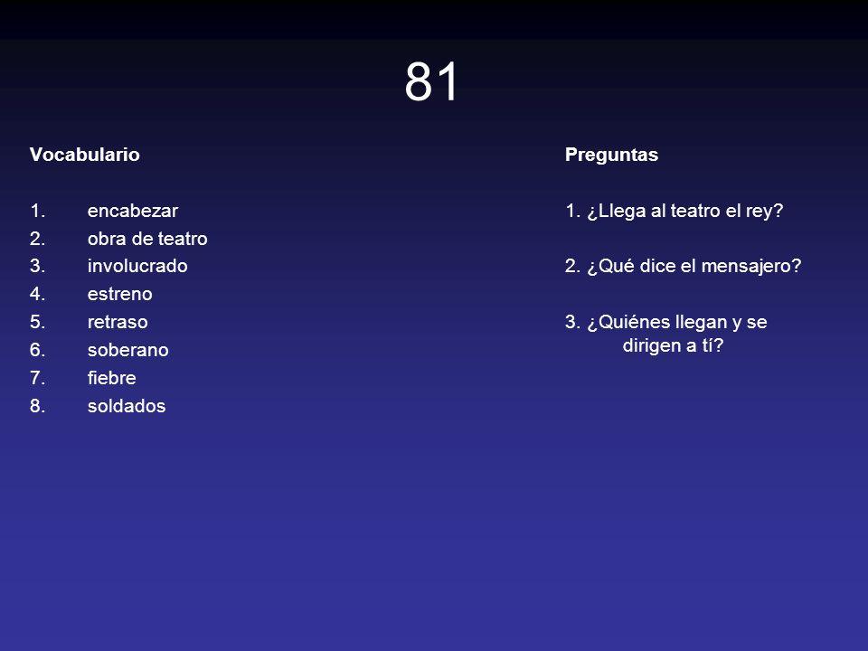 81 Vocabulario encabezar obra de teatro involucrado estreno retraso