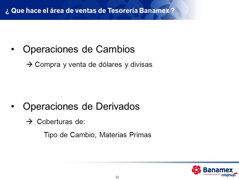¿ Que hace el área de ventas de Tesorería Banamex