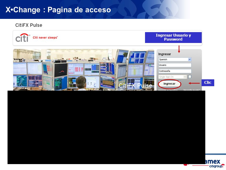 X•Change : Pagina de acceso Ingresar Usuario y Password