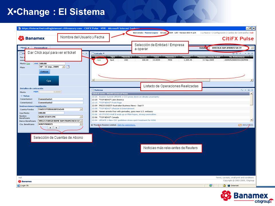 X•Change : El Sistema Nombre del Usuario y Fecha