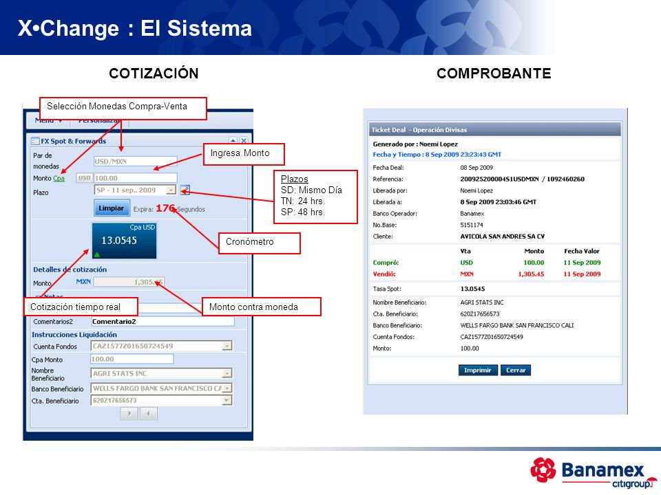 X•Change : El Sistema COTIZACIÓN COMPROBANTE