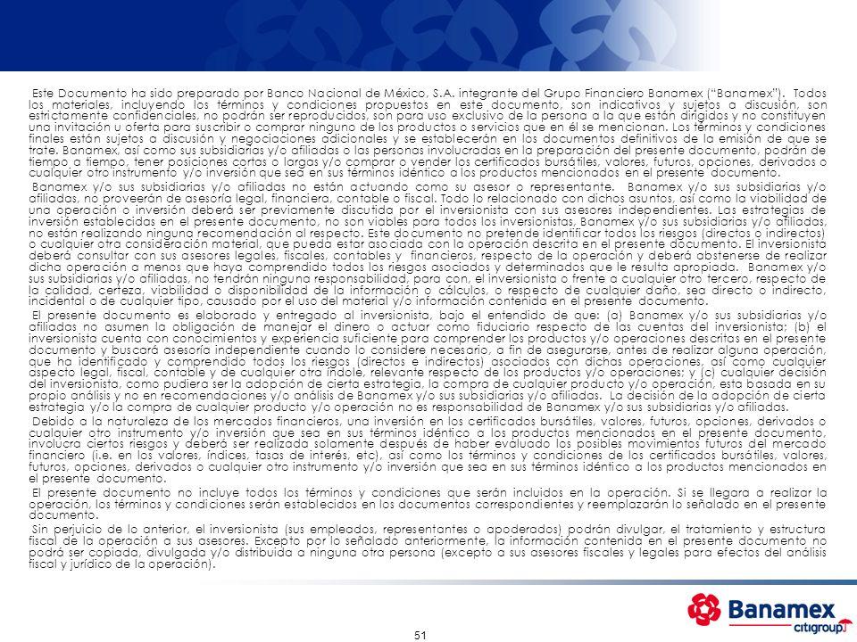 Este Documento ha sido preparado por Banco Nacional de México, S. A