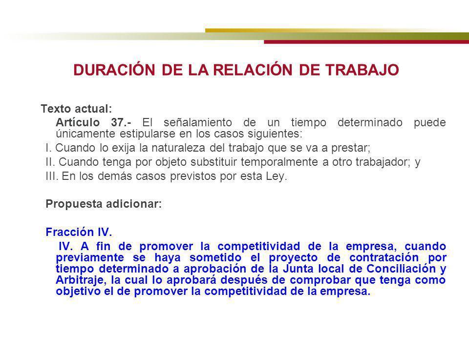 DURACIÓN DE LA RELACIÓN DE TRABAJO