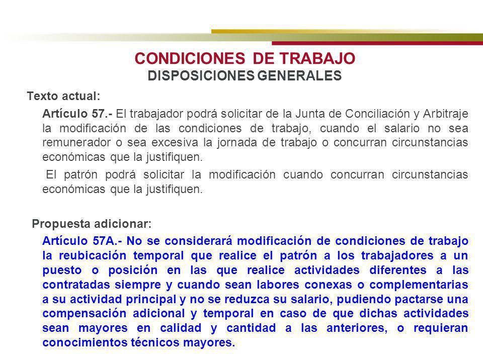 CONDICIONES DE TRABAJO DISPOSICIONES GENERALES