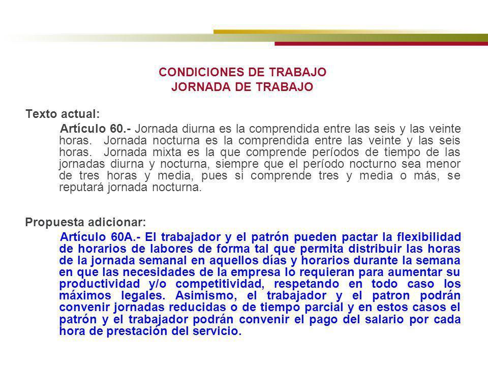 CONDICIONES DE TRABAJO JORNADA DE TRABAJO
