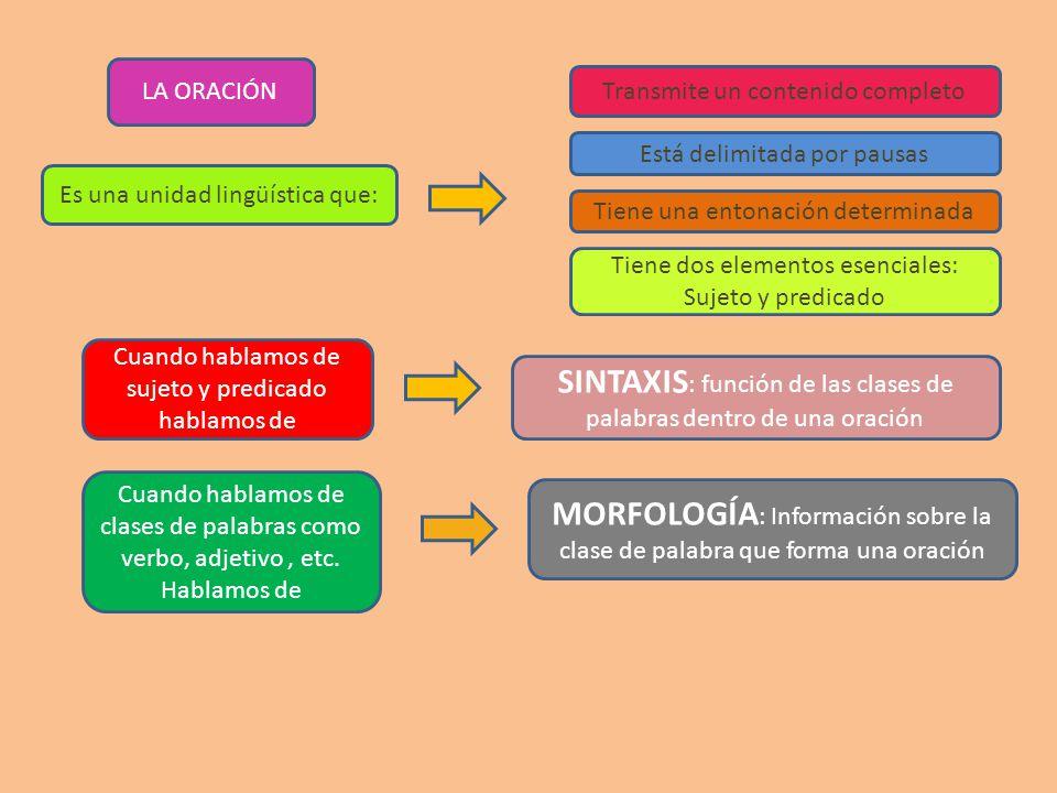 SINTAXIS: función de las clases de palabras dentro de una oración