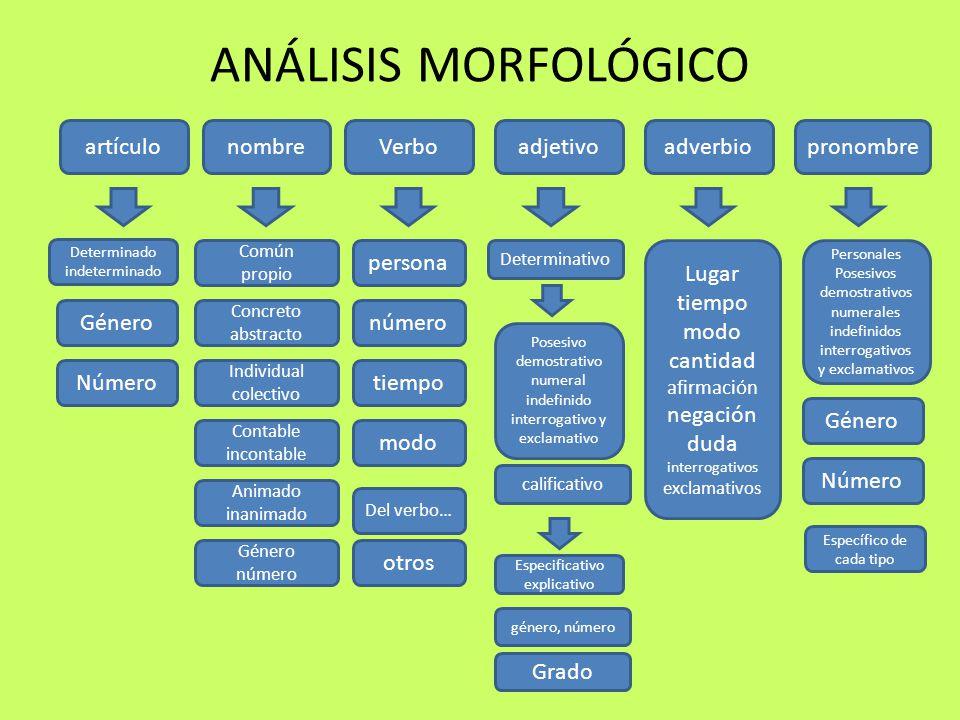 ANÁLISIS MORFOLÓGICO artículo nombre Verbo adjetivo adverbio pronombre